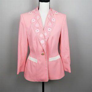 Escada Margaretha Ley Pink and White Blazer 38 / 8
